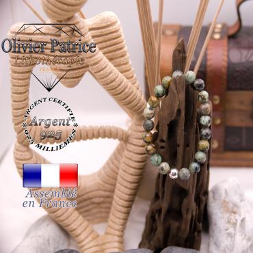Bracelet turquoise bleu africaine et boule argent 925 - 8 mm