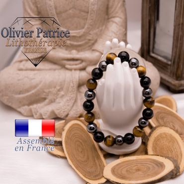 Bracelet œil de tigre, hématite et obsidienne vendu dans son écrin