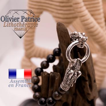 Bracelet en obsidienne dorée avec tête de dragon pour homme