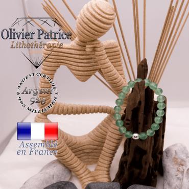 Bracelet en aventurine et boule en argent 925 - 8 mm