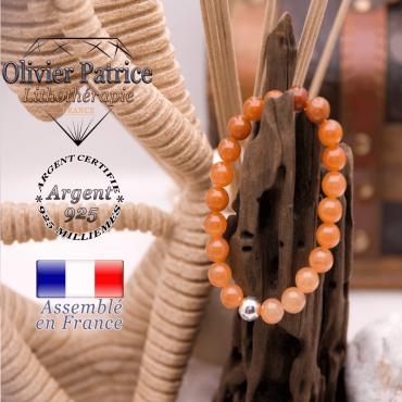 Bracelet en aventurine orange et boule en argent 925 - 8 mm