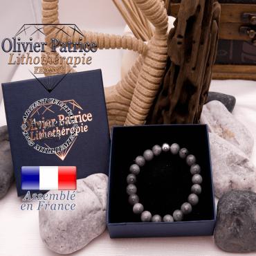 Bracelet pierre d'aigle et sa boule lisse en argent 925 dans son écrin
