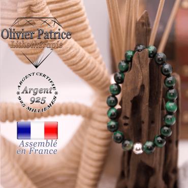 Bracelet Œil de Tigre teinte verte et boule argent 925 - 8 mm