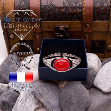 Bracelet toile d'araignée agate rouge ouvert en argent 925
