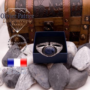 Bracelet toile d'araignée blue sand ouvert en argent 925