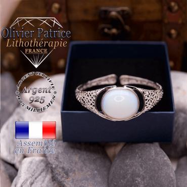 Bracelet toile d'araignée opale ouvert en argent 925
