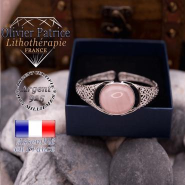 Bracelet toile d'araignée quartz rose ouvert en argent 925