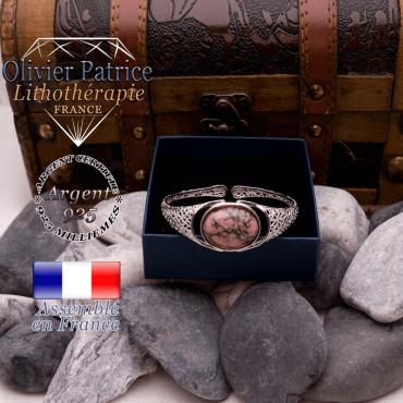 Bracelet toile d'araignée rhodonite ouvert en argent 925