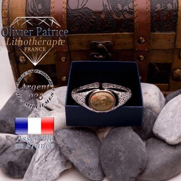 Bracelet toile d'araignée unakite ouvert en argent 925