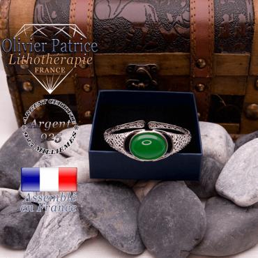 Bracelet toile d'araignée agate verte ouvert en argent 925