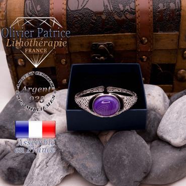Bracelet toile d'araignée agate à bandes violettes ouvert en argent 925