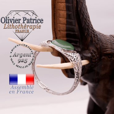 Bracelet toile d'araignée aventurine ouvert en argent 925