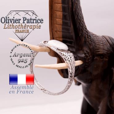 Bracelet toile d'araignée howlite ouvert en argent 925