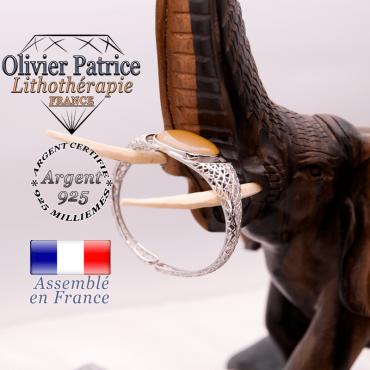 Bracelet toile d'araignée en onyx jaune, ouvert, en argent 925