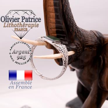 Bracelet toile d'araignée agate mousse en argent 925 dans son écrin