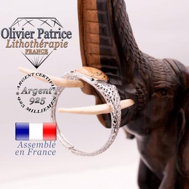 Bracelet toile d'araignée jaspe paysage ouvert en argent 925
