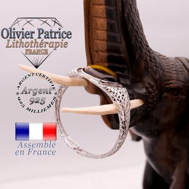 Bracelet toile d'araignée Œil de Tigre ouvert en argent 925