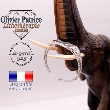 Bracelet toile d'araignée en onyx, ouvert, en argent 925