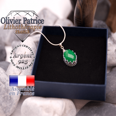 Pendentif couronne agate verte à facettes en argent 925