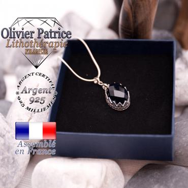 Pendentif couronne blue sand stone facettée argent 925