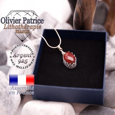 Pendentif couronne jaspe rouge facettée argent 925