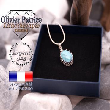 Pendentif couronne en pierre de turquoise facettée en argent 925