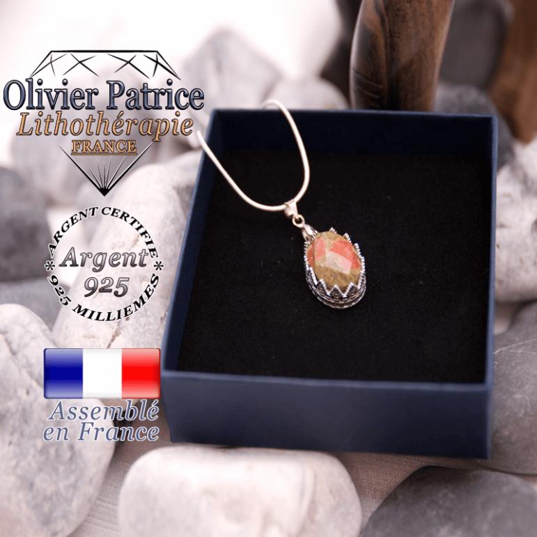 Pendentif couronne en pierre naturelle unakite facettée et en argent 925