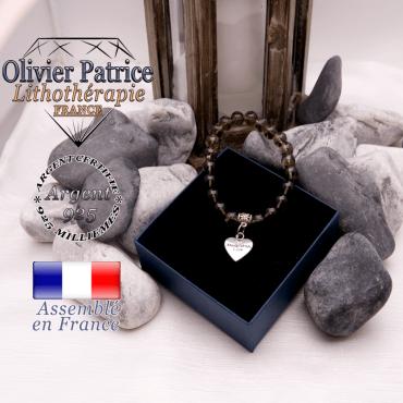 Bracelet quartz fumé et son charms coeur en alliage