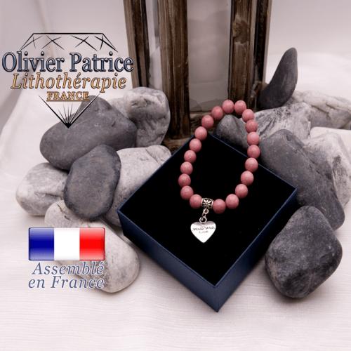 Bracelet rhodochrosite et son charms coeur en alliage