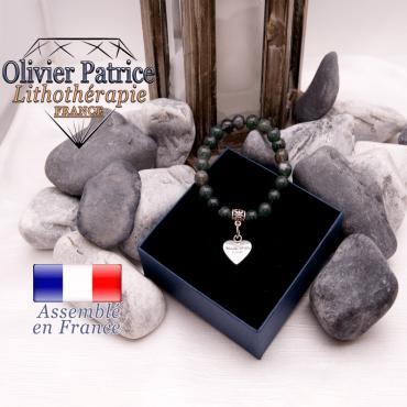 Bracelet agate mousse et son charms coeur en alliage