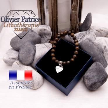 Bracelet bronzite et son charms coeur en alliage