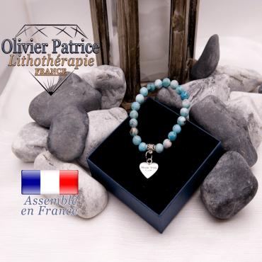 Bracelet hémimorphite et son charms coeur en alliage