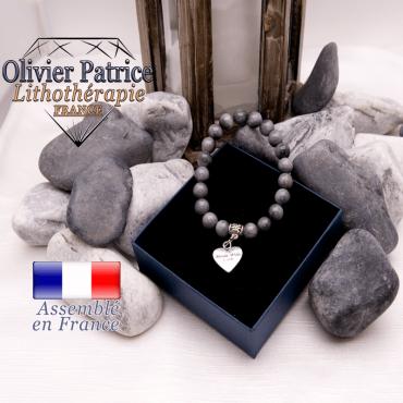 Bracelet pierre d'aigle et son charms coeur en alliage