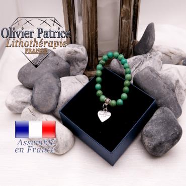 Bracelet turquoise du Tibet et son charms coeur en alliage