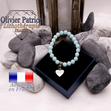 Bracelet jade bleu et son charms coeur en alliage