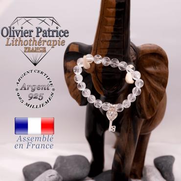 Bracelet cristal de roche et sa cage clé en argent 925