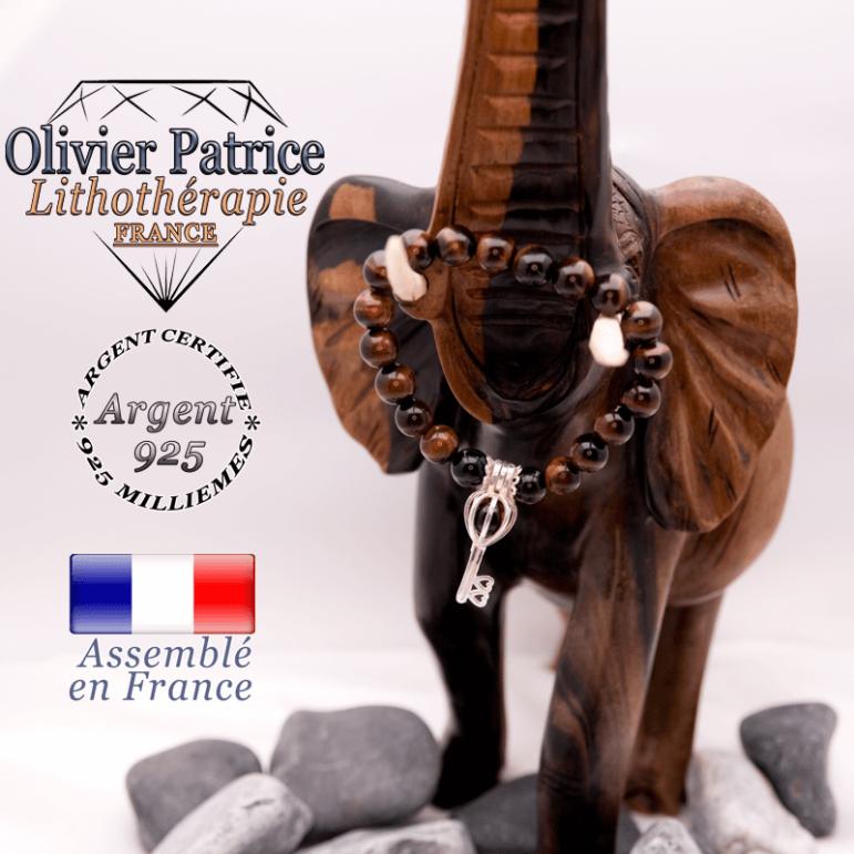 Bracelet Œil de taureau et sa cage clé en argent 925
