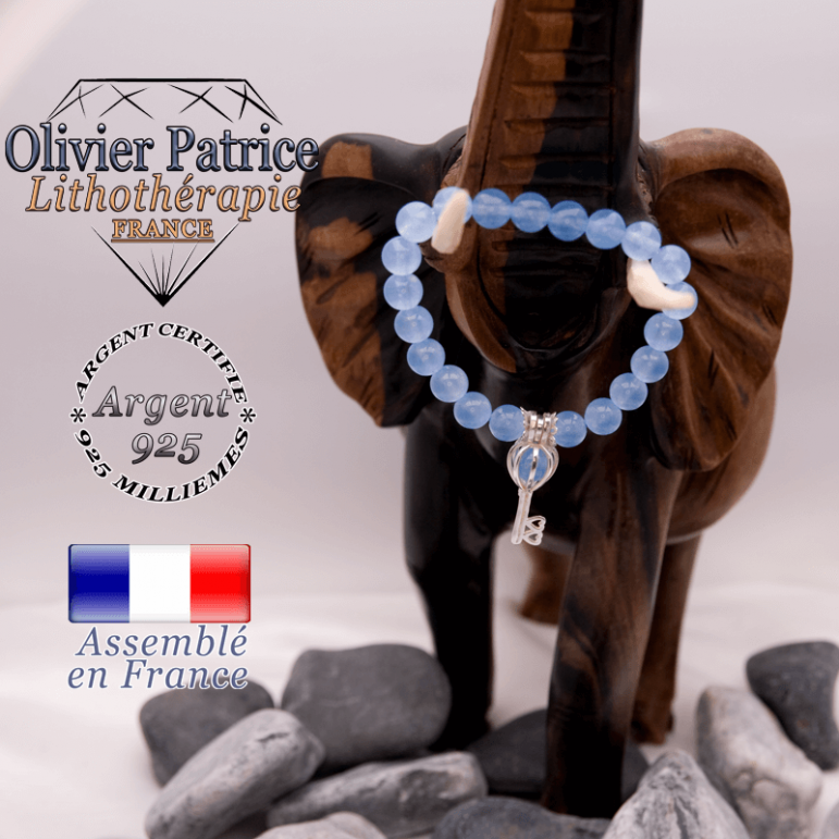Bracelet agate bleue et sa cage clé en argent 925