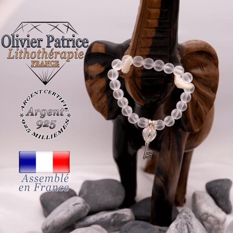Bracelet cristal de roche opaque et sa cage clé en argent 925