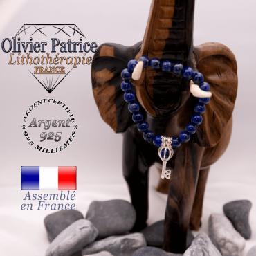 Bracelet lapis lazuli et sa cage clé en argent 925