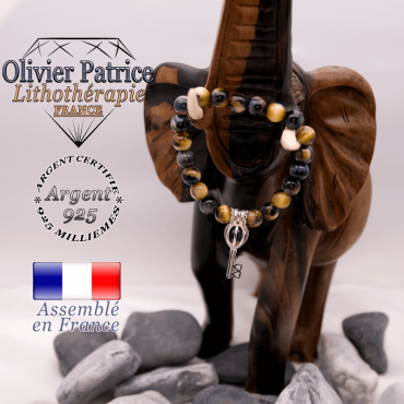 Bracelet Œil de faucon et cage strass en argent 925