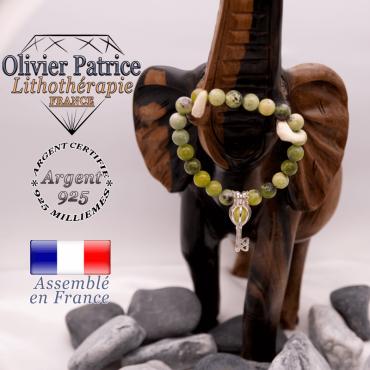 Bracelet turquoise africaine et sa cage clé en argent 925