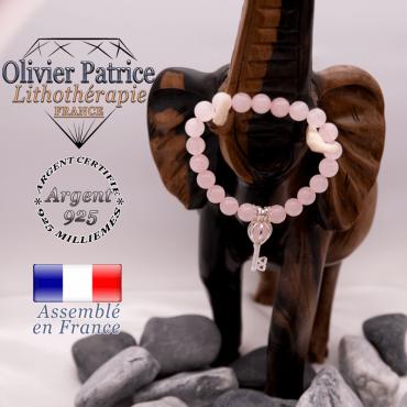 Bracelet quartz rose et sa cage clé en argent 925