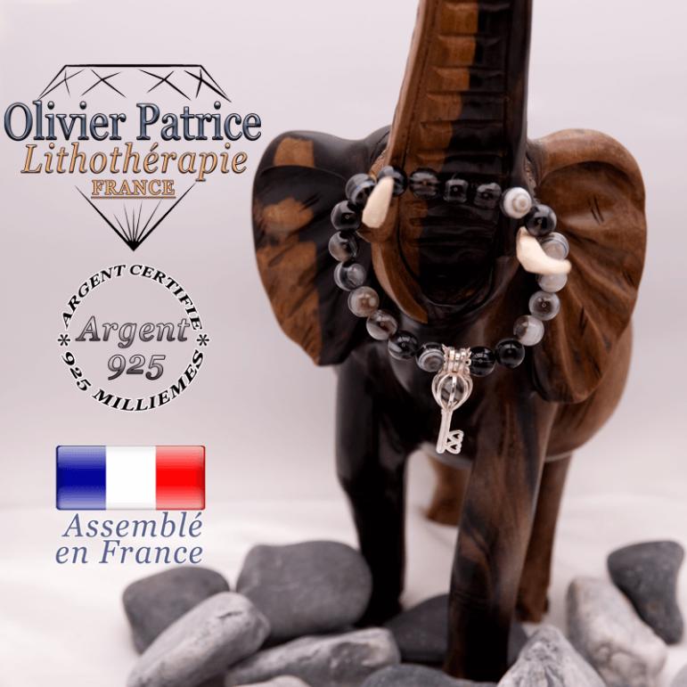 Bracelet sardonyx et sa cage clé en argent 925