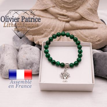 Bracelet malachite et son charms arbre de vie en alliage