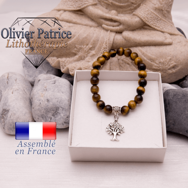 Bracelet Œil de Tigre et son charms arbre de vie en alliage