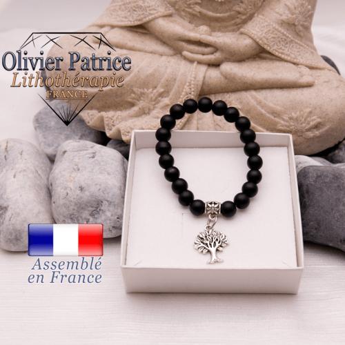 Bracelet onyx mat et son charms arbre de vie en alliage