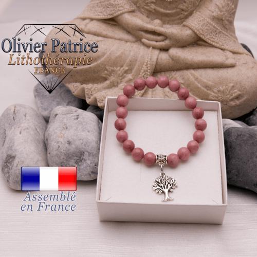 Bracelet rhodochrosite et son charms arbre de vie en alliage