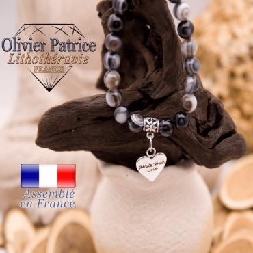 Bracelet sardonyx et son charms coeur en alliage