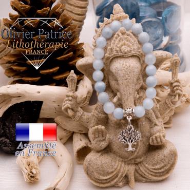 Bracelet aigue marine et son charms arbre de vie en alliage